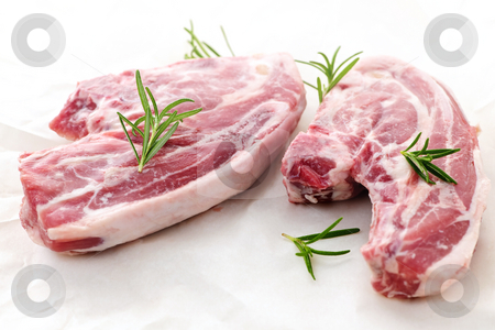 Raw lamb chops stock photo, Two raw fresh lamb chops with rosemary herb by Elena Elisseeva