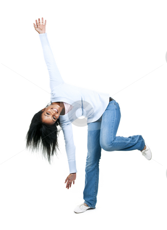 Playful young woman stock photo, Playful black woman isolated on white background by Elena Elisseeva
