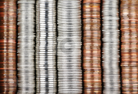 Coin background stock photo, Background of penny nickel dime and quarter stacked coins by Elena Elisseeva