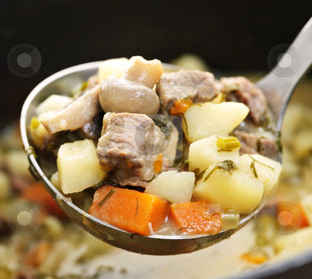 Beef stew in serving spoon stock photo, Hearty beef and potatoes stew with vegetables served with ladle by Elena Elisseeva