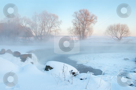 Frosty winter morning stock photo, Dawn frosty day in February, the fog and sun by Vladimir Blinov