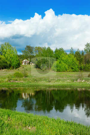 Cloud over the river stock photo, Cloud in the sky over the river Vilija in the spring afternoon. by Vladimir Blinov