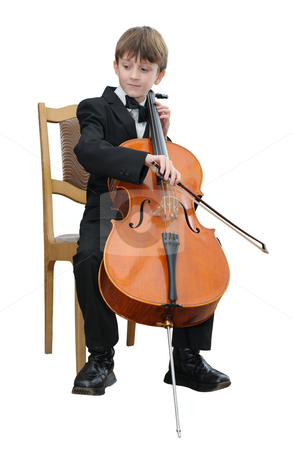 Boy playing the cello stock photo, Boy in a black suit, playing the cello. by Vladimir Blinov