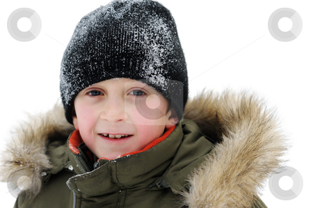Winter Games Children stock photo, Winter games children - portrait of a boy in winter clothes, isolated by Vladimir Blinov