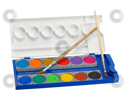 Watercolor paints and brushes stock photo, Box of watercolor paints and brushes on a white background, isolated by Vladimir Blinov