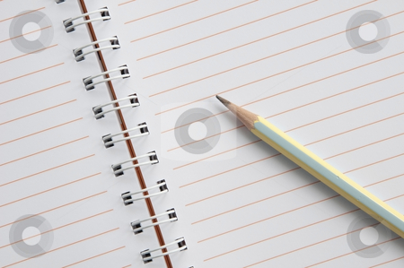 Blank notebook and pencil stock photo, Blank notebook and pencil as white isolate background by Udomsak Insome