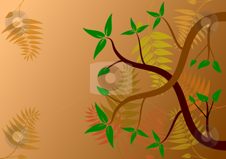 An autumn background illustration  stock vector clipart, An autumn background illustration with abstract trees and ferns in autumn colors by Mike Price