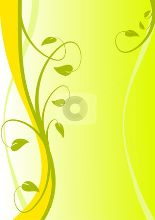 A Yellow abstract floral vector design stock vector clipart, A Yellow abstract floral vector design with room for text by Mike Price
