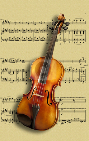 Violin on sheet music stock photo, Violin on sheet music( now public domain )composed for the string instrument by Christian Delbert