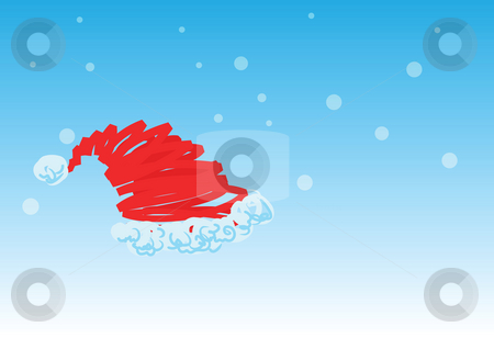 Santa claus hat - 3 of 6 christmas cards stock photo, Santa claus hat on snowing background, christmas greetings. 1 of the 6 same styled christmas cards i draw, please check the rest in my profile. by Mtkang