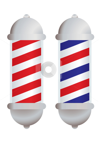 Barbers pole stock vector clipart, Red and white stripe barbers pole with silver elements by Michael Travers