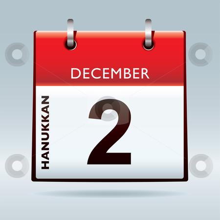 Hanukkan Calendar stock vector clipart, Hanukkan calendar icon with december red top and black date by Michael Travers