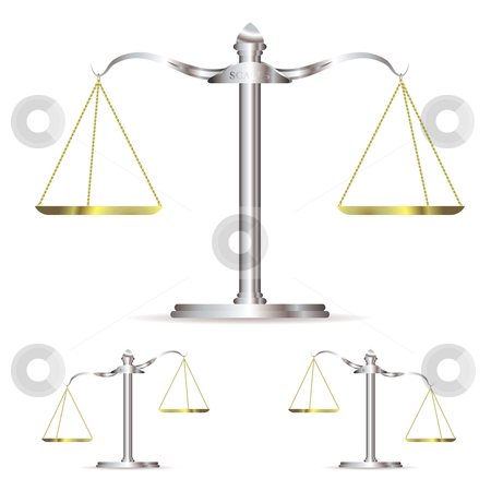 Metal scales stock vector clipart, Scales of justice in level up and down position with gold chains by Michael Travers