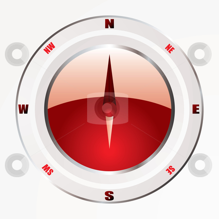 Modern red compass stock vector clipart, Modern compass icon with red base and silver trim bevel by Michael Travers