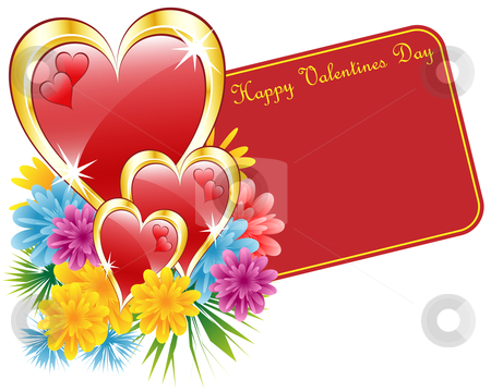 Valentine red heart and flowers stock vector clipart, Valentine red and gold hearts, flowers and a happy valentines day gift tag. Isolated on white. Copy space for text. by toots77