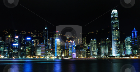 Hongkong stock photo, Hong Kong skyline during night with spectatular lights by Arvind Balaraman