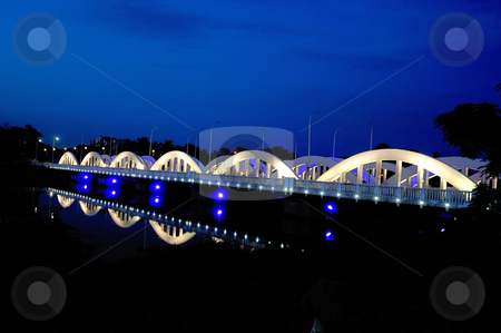 Napier Bridge stock photo, Colorfully and beautifully lit bridge during the night by Arvind Balaraman