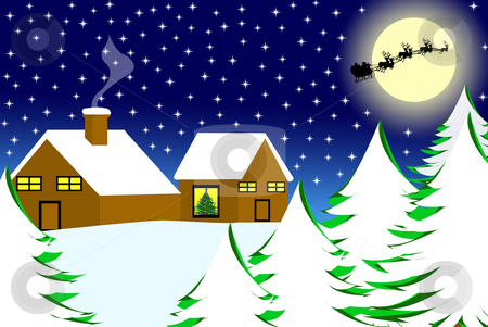 Christmas landscape stock photo, Illustration of house in the snow and sled in the sky by Ioana Martalogu
