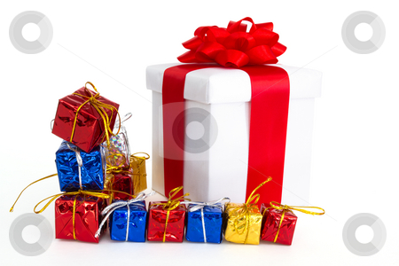Gifts stock photo, Set of colorful gifts isolated on the white background by Mariusz Blach
