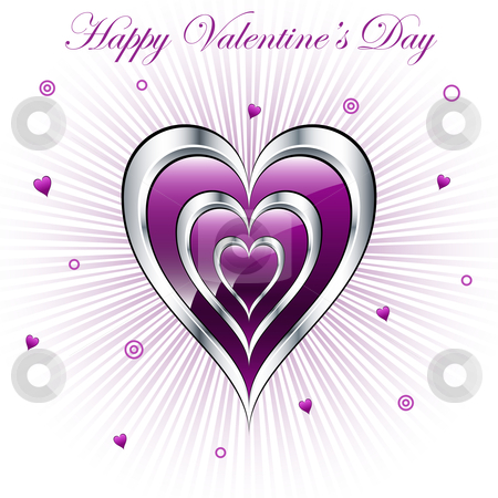 Valentine hearts with sunburst background stock vector clipart, Valentine purple and silver triple hearts with a subtle sunburst background, decorated with small hearts and circles. by toots77