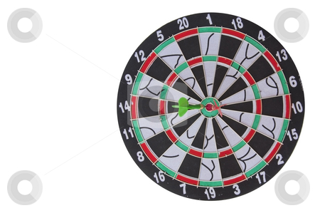 Dart Board on Isolated White Background stock photo, Dart Board on Isolated White Background by Udomsak Insome