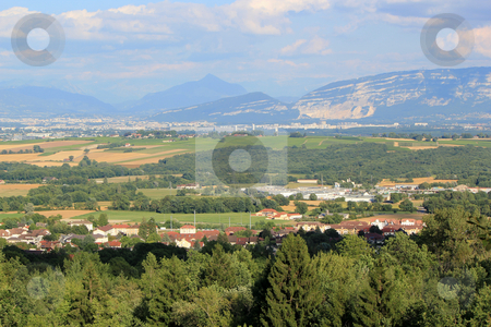 View of Geneva canton, Switzerland stock photo, View of Geneva area with Saleve and Alps mountain by sunset, Switzerland by Elenaphotos21