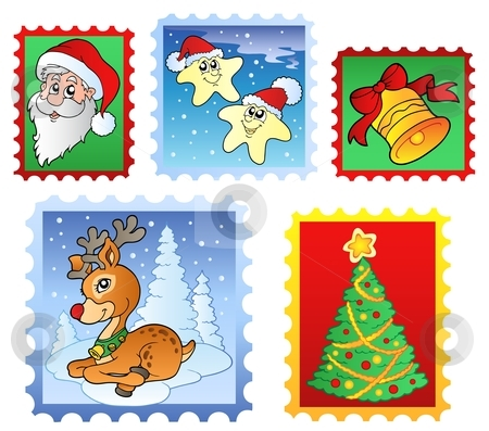 Various Christmas post stamps 1 stock vector clipart, Various Christmas post stamps 1 - vector illustration. by Klara Viskova