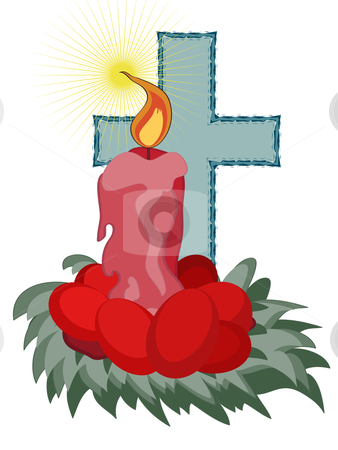 composition for Easter stock vector clipart, Burning candle with a cross and Easter eggs isolated on white by Cristinel Zbughin
