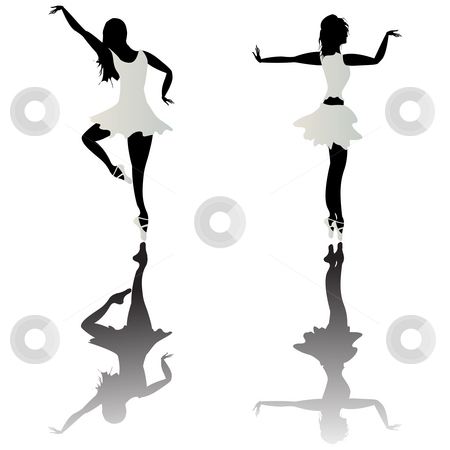 Ballet dancer stock photo, Ballet dancer silhouettes and reflection over white background by Richard Laschon