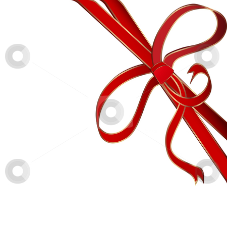 Red corner ribbon stock photo, Christmas red corner ribbon with golden stripes by Richard Laschon