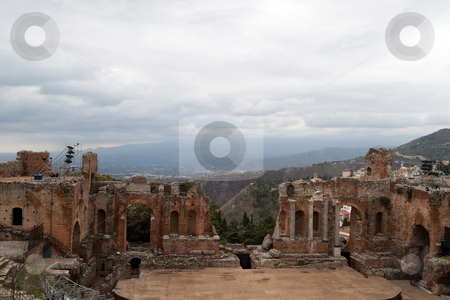 Roman Theater stock photo, The old Greek and then Roman theater in Messina, Italy by Kevin Tietz