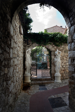 Courtyard stock photo, Old courtyard and walls in the village of Eze, France by Kevin Tietz