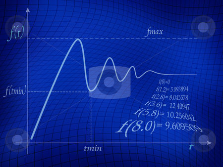 Math Function stock photo, Graph of mathematical function in blue background. by Dejan Lazarevic