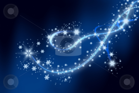 Snowflakes show stock photo, Christmas background with white snowflakes  and swirls by Dejan Lazarevic