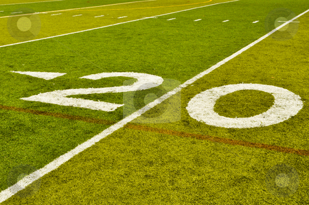 Twenty Yard Line stock photo, Twenty Yard 20 Line on American Football Field by Brandon Bourdages