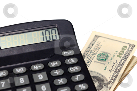 Calculator and money stock photo, A desk calculator and dollars isolated on a white back ground by Arvind Balaraman
