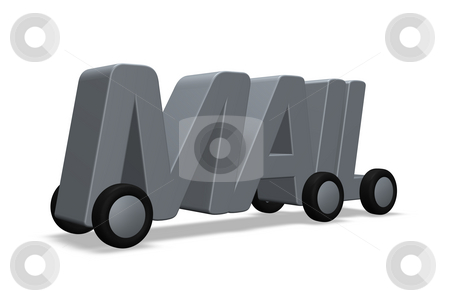 Mail stock photo, The word mail on wheels - 3d illustration by J?
