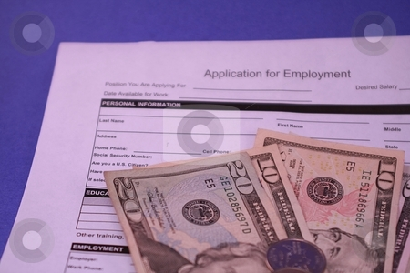Job Application Form for Employment stock photo, Job application document for employee or employer. Paperwork for application for employment on blue background. Business documents for the workplace. by Kristine Tucker