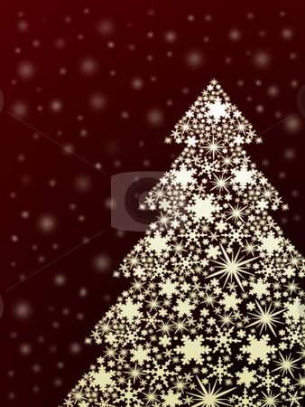 snowflake christmas tree stock photo, snowflake christmas tree on red by Cristinel Zbughin
