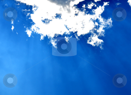 Blue sky with clouds and sun rays stock photo, Blue sky with clouds and sun rays by Robert Biedermann