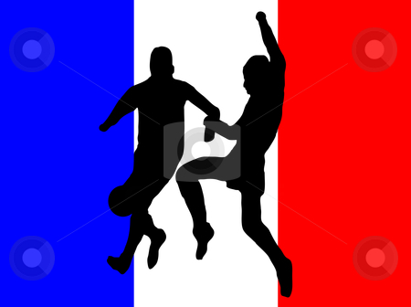 Footballers in silhouette  stock vector clipart, Footballers in silhouette against a red white and blue french flag design by Mike Price