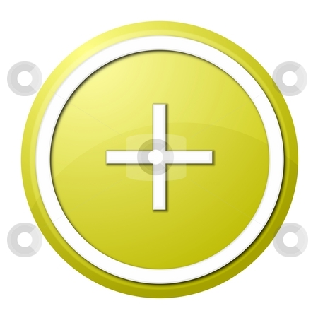 Yellow plus button stock photo, Round plus button with white ring for web design and presentation by Henrik Lehnerer