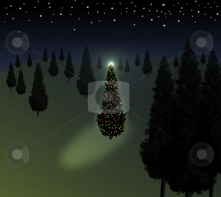 Christmas Tree Green stock photo, Xmas tree with lights standing in the forest and start background by Henrik Lehnerer