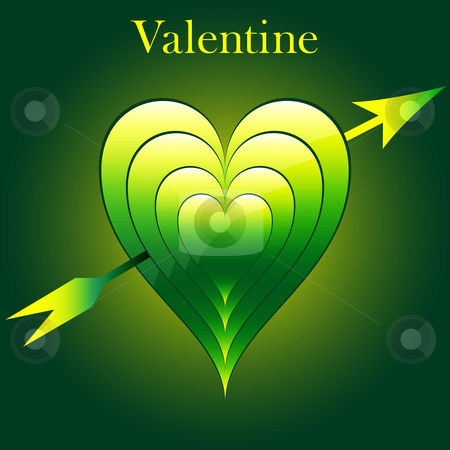Valentine love hearts green stock vector clipart, Valentine love hearts in green and yellow with arrow. Subtle pattern and glowing background. by toots77