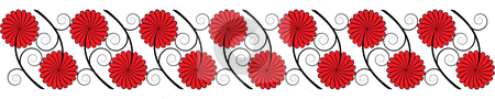 Seamless flower border stock vector clipart, Seamless flower border by Cristinel Zbughin