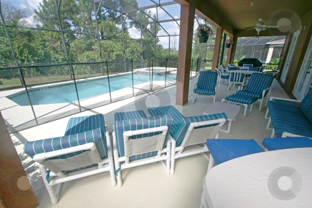 Lanai, Pool and Spa stock photo, A Lanai, Swimming Pool and Spa in Florida by Lucy Clark