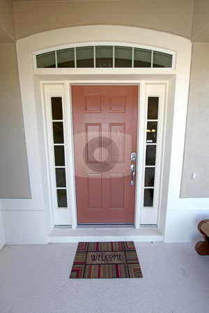 Front Door stock photo, A Front Door with Mat welcoming you into the Home. by Lucy Clark