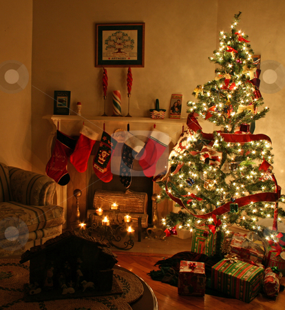 Room Decorated for Christmas stock photo, Living room decorated for Christmas by Wanda Anthony
