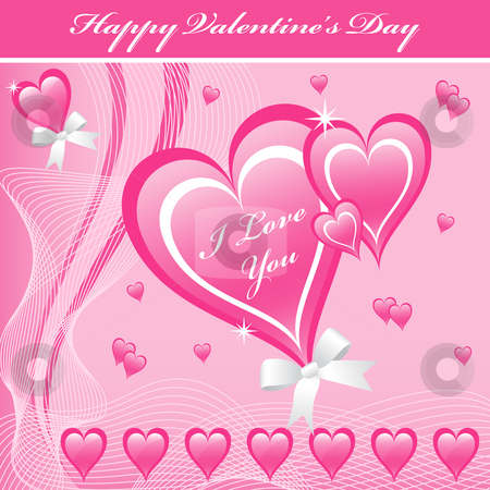 Valentine love hearts pink stock vector clipart, Valentines day love hearts in pink with bows decorated with smaller hearts. by toots77