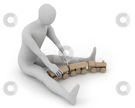 3D white man plays with wooden train stock photo, 3D white man plays with wooden train, isolated on white by Zelfit
